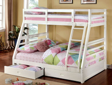 Buccari White Twin Full Bunk Bed with Drawers | Twin Full Bunk Bed