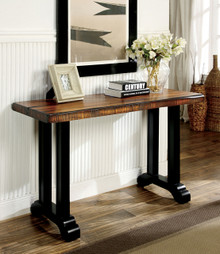 Tobacco Oak Black Sofa Table