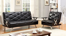 Leatherette Red Black Convertible Futon Sofa Bed and Chairs