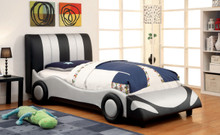 Super Racer Black and White Full Size Bed