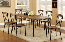 Industrial Wooden Bronze Dining Table Set