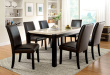 Marble Top Dark Walnut Dining Table Set