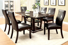 Faux Marble Dark Cherry Dining Table Set