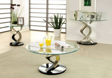 Round Satin Glass Coffee Table Set