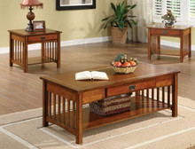 Seville Mission Oak Cocktail Table Set