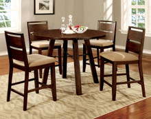 5 PC Dark Oak Round Counter Height Table Set