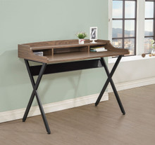 Writing Desk in Light Brown with Metal X Base