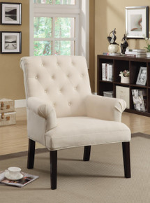 Beige Button Tufted Rolled Back Accent Chair