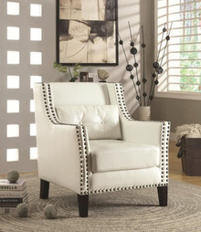 White Leatherette Bronze Nail-head Trim Accent Chair
