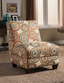 Off White Orange Medallion Patterned Fabric Accent Chair