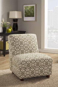 Off White Green Pattern Fabric Accent Chair