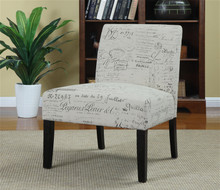 Off White Grey Linen Cotton Fabric Accent Chair