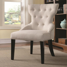 Cream Linen Like Fabric Tufted Accent Chair