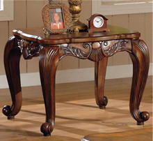 Deep Brown Leaf Design End Table