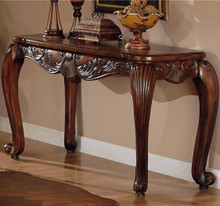 Deep Brown Leaf Design Sofa Table