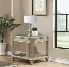 Metallic Platinum End Table with Accent Shelf