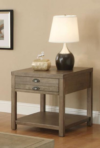 Driftwood Finish End Table with Drawer