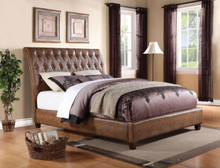 Pitney Tufted Two Tone Brown Crocodile Leatherette Bed