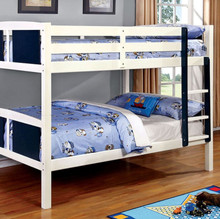 San Marino Blue White Full Size Bunk Bed | Twin Bunk Bed