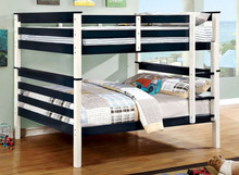 Lorren Wood Full over Full Bunk Bed in Two-Tone Finish | Blue White Full Bunk Bed