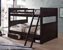 Dillon Queen over Queen Wood Bead-Board Bunk Bed | Espresso Finish