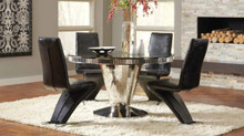 "51"" Glam Black Glass Stainless Steel Table with 4 Chairs 