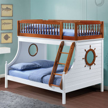 Farah Nautical White Oak Twin over Full Bunk Bed
