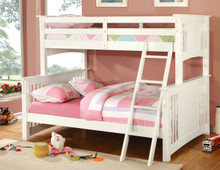Spring Creek Wood Twin Over Full Bunk Bed | White Bunk bed