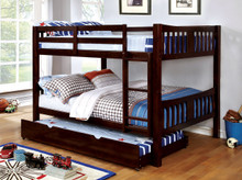 Felix Mission Wood Full over Full Bunk Bed | Dark Walnut Bunk Bed