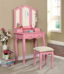 Janelle Makeup Vanity Table with Mirror and Bench | Pink Vanity