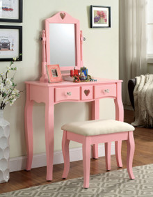 Francine Pink Makeup Desk with Mirror and Bench | Pink Makeup Desk