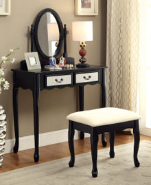 Adrianna Black Makeup Desk with Mirror and Bench | Black Makeup Desk