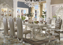 "120"" Majestic Formal Bone White Dining Table Set 