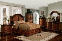 Antique Tobacco Oak Queen Platform Bed