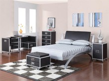 Silver and Black Full Metal Platform Bed