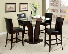 Manhattan Round Glass Counter Height Dining Table Set