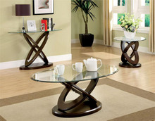 Atwood Oval Glass Dark Walnut Coffee Table