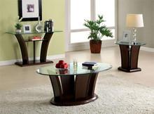 Oval Glass Dark Cherry Coffee Table
