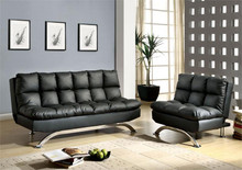 Aristo Black Leatherette Futon Sofa Bed