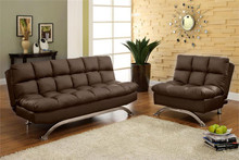Aristo Dark Brown Leatherette Futon Sofa Bed