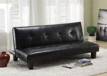 Idalia Black Leatherette Futon Sofa Bed