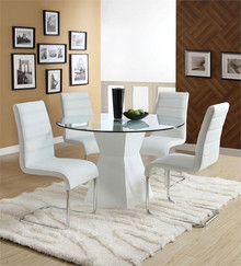 Lynelle Round Glass White Dining Table Set