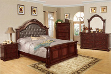Esperia Brown Cherry Tufted Leatherette Bed