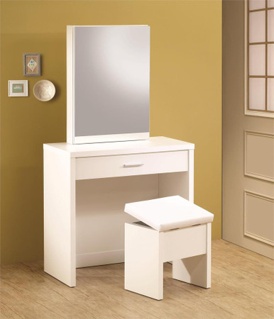 White Vanity Desk Bench and Mirror