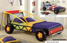 Talladega Kids Yellow Red Metal Racing Car Twin Bed