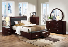Lyric Dark Espresso Leather Low-Profile Bed with Drawers