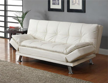 White Sofa Bed Contemporary Style Leatherette