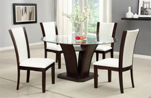 Manhattan Round Glass Table w/ White Chairs