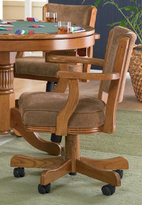 Oak Wood Swivel Upholstered Game Arm Chair