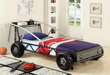 Silver and Black Twin Metal Racing Car Bed